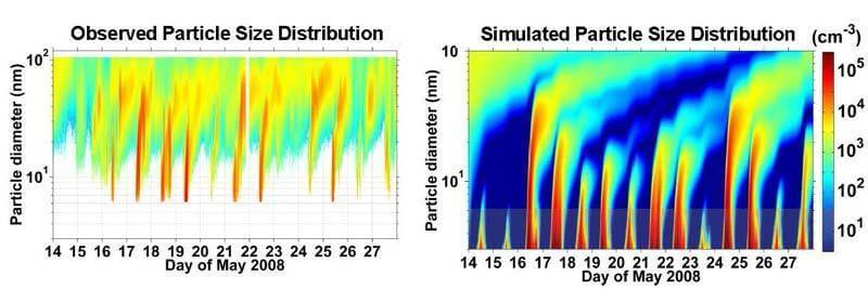Observed Particle Size Distribution and Simulated Particle Size Distribution Charts